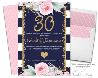 Navy and White 30th Birthday Party Invitation, Floral 30th Birthday Invitation, Milestone Birthday, Surprise Party Invitation, Gold Glitter