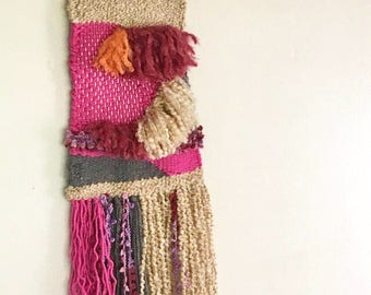 Woven Wallhanging - Veralie // Colorful Modern Weaving, Boho Decor, Pink, Grey, Neutral, Beige, Mauve, Orange, Natural Wood, One of a Kind