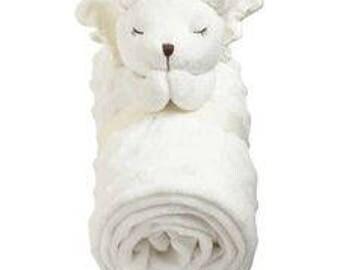 Prayer bear baby blanket monogrammed, custom baby blanket in white, minky satin embroidered blanket, Easter baby blanket, Christening gift