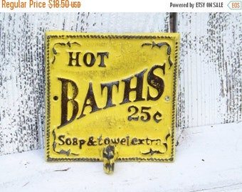 ON SALE HOT Baths Yellow Bathroom Hook / Cast Iron Sign /Shabby Chic Bathroom Sign /Bathroom Hook  / Shabby Chic Decor