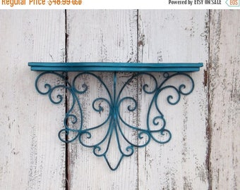 ON SALE Rustic Teal Shabby Chic Metal Shelf / Bathroom Shelf / Metal Shelf / Shabby Chic / Wall Shelf / Nursery Wall Shelf