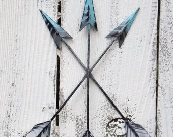 ON SALE Ombre Wall Arrow Hanging / Aqua / Arrow Decor / Tribal Arrow / Southwestern Decor / Arrow Wall Decor