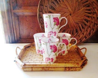 Four Laura Ashley Braemore Coffee Mugs, English Fine Bone China Tea Mugs, Pink Floral Mugs, English Country, Cottage Chic