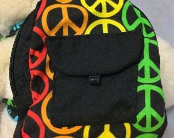 18 Inch Doll Backpack / Doll School Bag / Doll Book Bag /Build A Bear Peace Sign Backpack / Gift Card Holder / Doll School Supplies