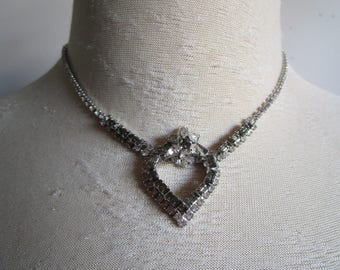 Sterling Heart 60s Rhinestone Necklace Vintage JAY Flex 1960s Silver Flower Holiday Party Evening Choker