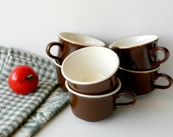 Restaurant Ware Coffee Cups. Brown Tea Cups. Kitchen Decor. Rustic Tableware. Vintage Kitchenware. Drinkware. Country French Farmhouse Chic.