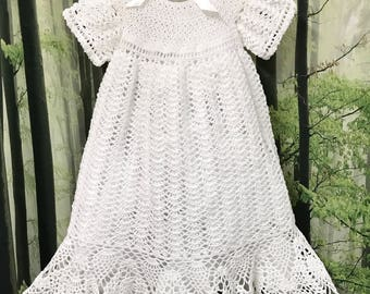 Beautiful Baptismal Gown, White Baby Gown, Christening Gown, White Baptismal Gown, Baby Gown, Baby Dress