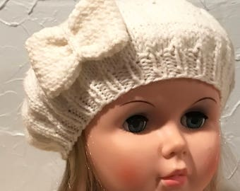 Little Girls Beret, Girls Cream Beret, Cream Beret With Bow, Cabled Tam, Cabled French Beret