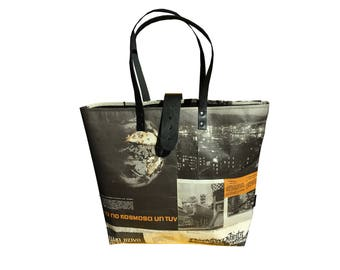 Real newspaper tote with closure- black leather details