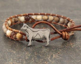Brown Cow Bracelet Gemstone Cow Jewelry Single Leather Wrap Bracelet