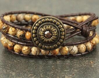 Double Leather Wrap Bracelet Caramel Gold Brown Bracelet Gemstone Bracelet Bold Bohemian Jewelry Picture Jasper Bracelet