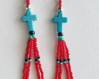 Summer Sale Turquoise Cross beaded earrings