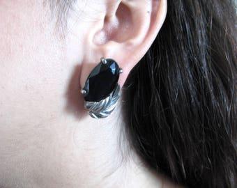 black Schiaparelli earrings - 50s vintage onyx glass silver leaf metallic mirror clipon signed designer costume jewelry facet cabachon oval