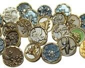 Antique Buttons ~ Metal Buttons Lot ~ Original Tinted Metal Buttons ~Victorian Metal Buttons ~
