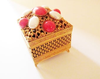 FLORENZA Trinket Box, Faux Coral and Pearl Ornate Box, Vanity Box, Gold Tone Filigree Hinged Box