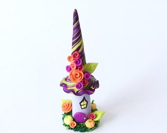 Miniature witch house sculpture handmade from polymer clay
