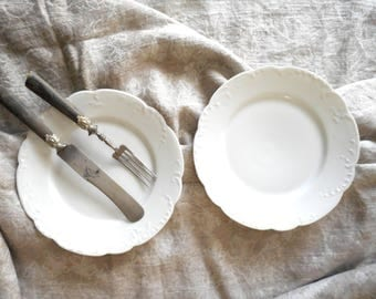 Two Antique Plates White Porcelain 8.5 inch Haviland France Undecorated