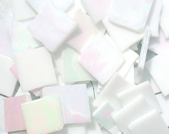 Stained Glass Mosaic Tiles - Iridescent White  - 1/2 Pound Nipped and Tumbled Assorted Pieces