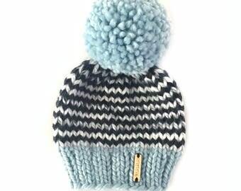 Toddler Pom-Pom Beanie, Pom Pom Beanie, Toddler Hat, hand knit Hat, Blue kids hat, big pom Beanie, Ready to Ship