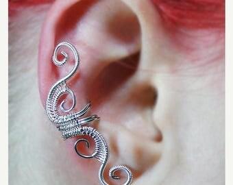 SALE - Ear Cuff - Silver Woven Full Size Swirly Cuff
