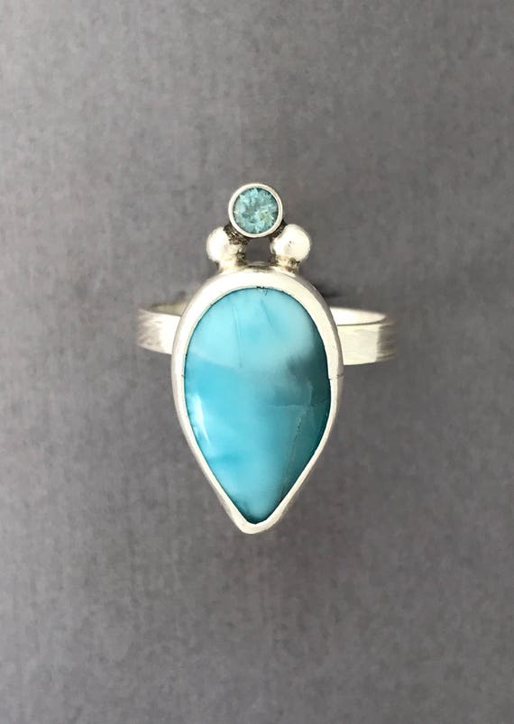 Larimar and topaz handmade ring  size 10.25