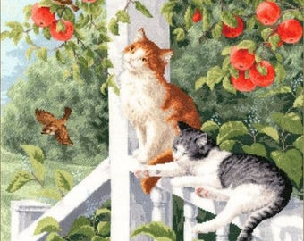 NEW UNOPENED Counted Cross Stitch Kit Golden Fleece NL-030 Cats. On the porch
