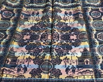 Vintage Table Runner, Asian Inspired Double Sided Tablecloth