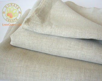 Pure linen fabric remnants Sale! Linen flax out cuts roll-ends for DIY crafts & decor; Light yet firm, taupe natural off-white linen melange