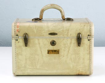 Vintage Samsonite Train Case with Vintage Travel Stickers, Cream Marbled Cosmetic Case