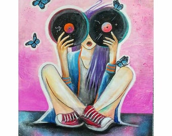 16-in x 20-in Original Painting- Record girl and butterflies