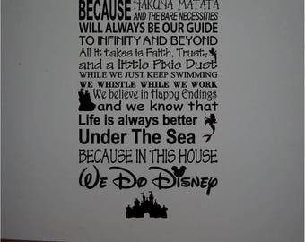 ON SALE Personalized family Rules DISNEY famous movie quotes vinyl lettering subway art -In this house We do Disney...Style 2