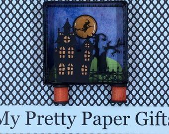 Halloween Shadow Box, Halloween Diorama, Vintage Style Halloween Decoration, Halloween 3D, Flying Witch , Haunted House  , OOAK