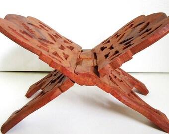 Hand Carved Wood Book Holder for Bible, Cookbook, Vintage Folding Display