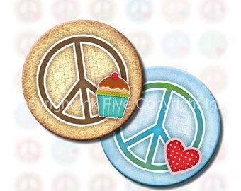 Peace and Love Signs 1 inch circle hippie bottle caps images. Digital collage sheet for scrapbook, tile pendants. Peace symbols download.