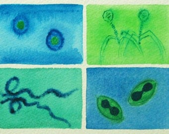 Blue and Green Viruses - original watercolor - microbes