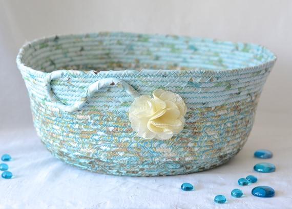 Aquamarine Blue Basket, Cat Bed, Handmade Storage Organizer, Book Bin, Gift Basket, Dog Bed Furniture, Pet Toy Bin, Modern Basket