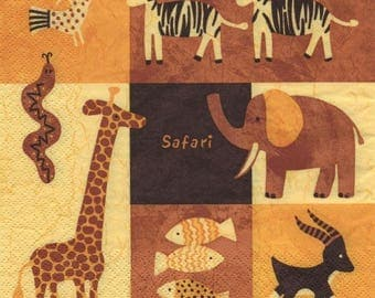 3320 lot 3 Savannah animals paper napkins
