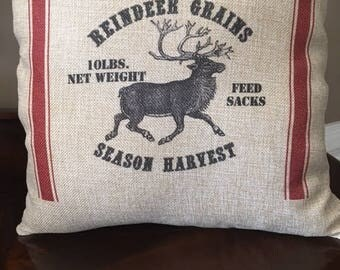 Christmas Pillow, FREE SHIPPING, Vintage Reindeer Pillow Cover,  Farmhouse  Christmas Pillow, Reindeer Pillow,  Holiday Pillow