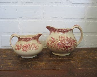 Red Transferware Crown Ducal England Bristol Creamer and Small PItcher