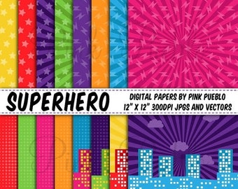 BACK TO SCHOOL Sale Superhero Digital Papers, Superheroes Scrapbook Paper and Backgrounds - Commercial and Personal Use