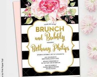 Pink Floral Glam Black and White Stripes and Gold Glitter Printable Brunch and Bubbly Bridal Shower Printable Invitation