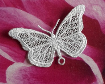 UK White lace butterfly applique, necklace, choker centerpiece, brooch, pin hand made