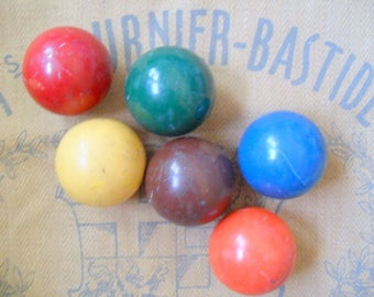 Antique Croquet Balls, Vintage Croquet Balls, Vintage Croquet, Set of 6
