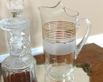 Vintage Mid Century Beverage Pitcher with Gold Stripes Frosted Glass