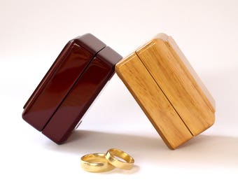 Beautiful Wooden Ring Box Wedding Rings, Natural Wood or Rosewood Ring Box, Double Ring Box Wood, Cufflink Box, Wedding Ring Holder PC715