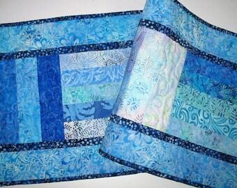 Batik Table Runner in  Aqua, Blue, Violet Batiks handmade, quilted, pieced