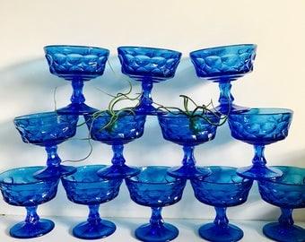 King's Crown Cobalt Blue Champagne Glasses
