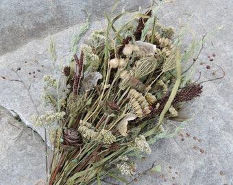 Dried Flower Bouquet Mushroom Yarrow Fern Fronds Wildflowers Meadow Grasses Woodland Arranged Flowers