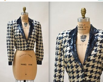 SALE Vintage Sequin Jacket Size Small Medium in Navy Blue and White Houndstooth Plaid by Modi