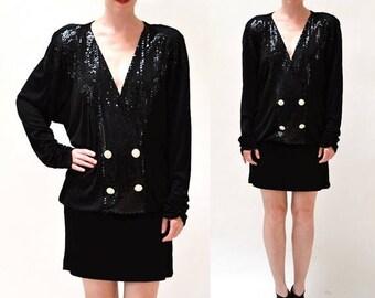 SALE Vintage Knit Black Dress size Large by Criscione// Black Sequin Dress Draped Party Cocktail Dress size Large